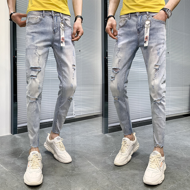 Online Celebrity With Holes Jeans Men's 2019 Summer Social Fella Slim Fit Trend Skinny Pants Versatile Men Capri Pants