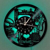 Design de costura relógio 12-Polegada vinil registro relógio de parede | decoração moderna para alfaiate | lâmpada de suspensão 7 cores de iluminação relógio de parede.
