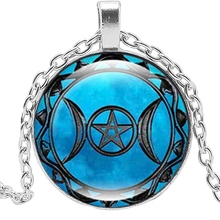 2019 New Hot Three Moon Goddess Time Glass Convex Round Pendant Necklace Jewelry Sweater Chain Statement