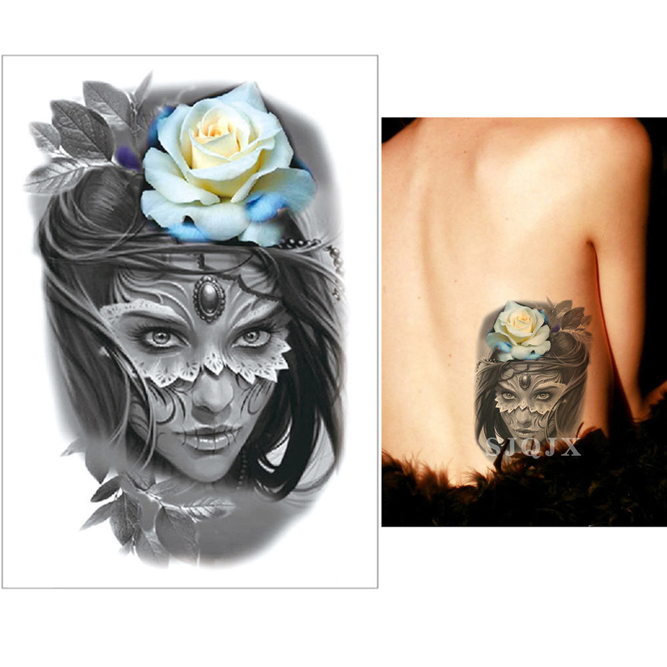 Actriz Porno Con Rosa Azul Tatuada En El Vientre tatuaje de flor temporal para mujer cara humana zorro de nieve mariposa  araneid tatuaje de acuarela blanco negro impermeable tatuajes temporales