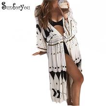 Sukienka plażowa Sarong Cover-up stroje kąpielowe Bobe de Plage Pareo plaża Cape tunika okrycie na kostium kąpielowy Saida de Praia osłona do Bikini tanie tanio sunforyou COTTON Poliester CN (pochodzenie) Drukuj Młody styl Czeski W każdym wieku 35-45 lat Pasuje prawda na wymiar weź swój normalny rozmiar