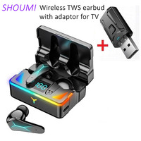 Gioco TWS auricolare Bluetooth con microfono adattatore USB gioco Wireless auricolare Sport Display a LED cuffie con cancellazione del rumore per TV Mobile