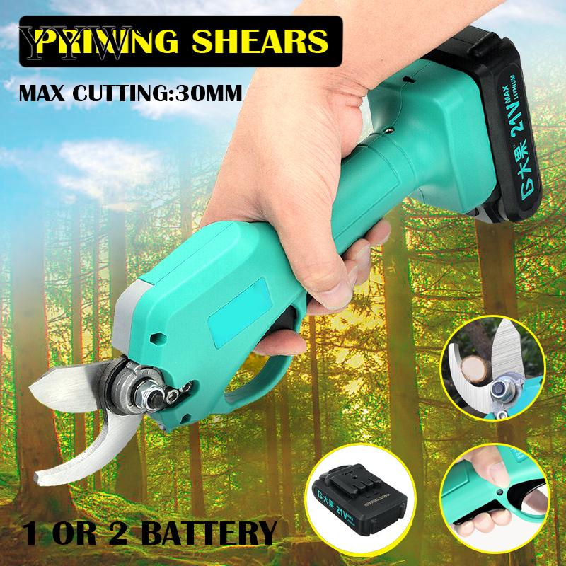 Electric Pruner Garden Tool Tree Cordless Pruning Shears Branch Cutter Grafting Tool Carbon Steel Electric Scissors With Led