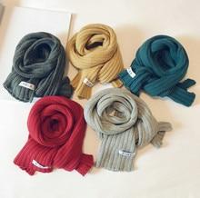 Korean Wool Cotton Knit Solid Soft Warm Autumn Winter Thick Kids Children Boys Girls Shawls Wraps Scarves Accessories-LHC children autumn and winter warm clothes boys and girls thick cashmere sweaters