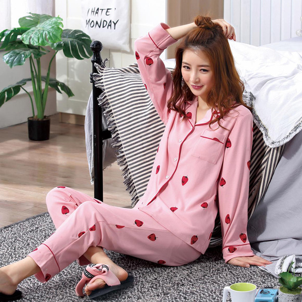 Liang Xing-Autumn & Winter Qmilch Cardigan Double Long Oil Painting Strawberry Printed Pajamas Suit M-XXL Code