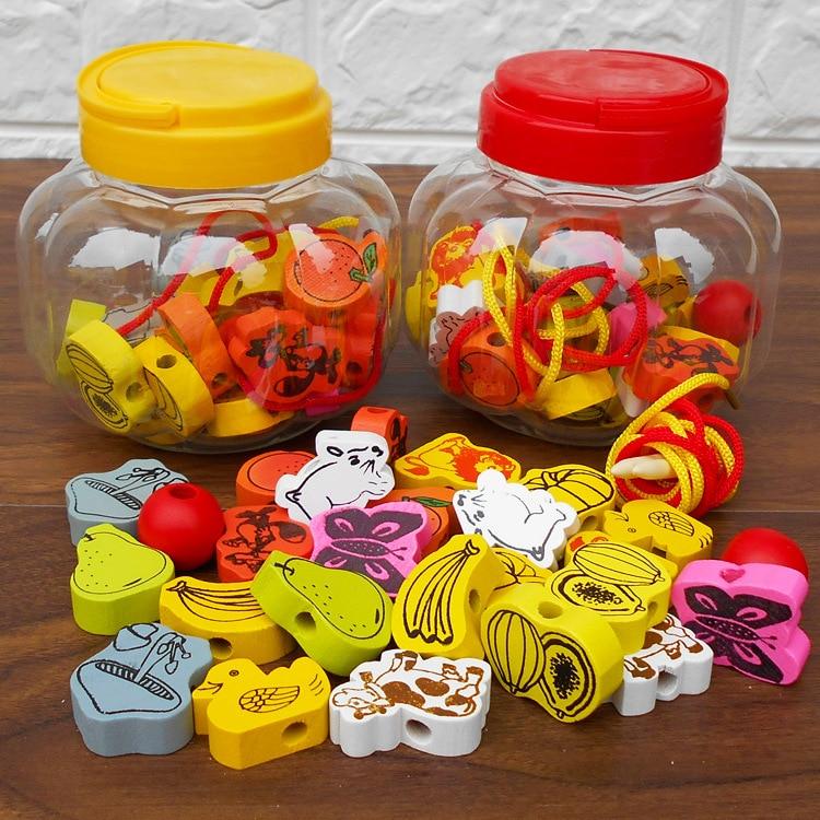 Baby CHILDREN'S Toy Pumpkin Bucket Cord Fruit Intelligence Wear Animal Wooden Toys Around Beads China Large