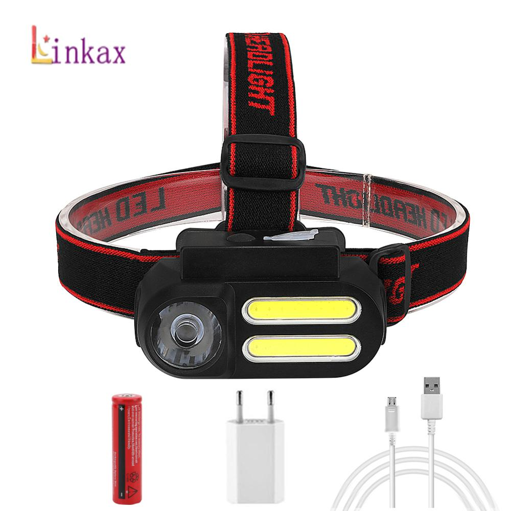 Outdoor Camping Portable Mini COB LED Headlamp USB Rechargeable 4 Modes Fishing Headlights Flashlight