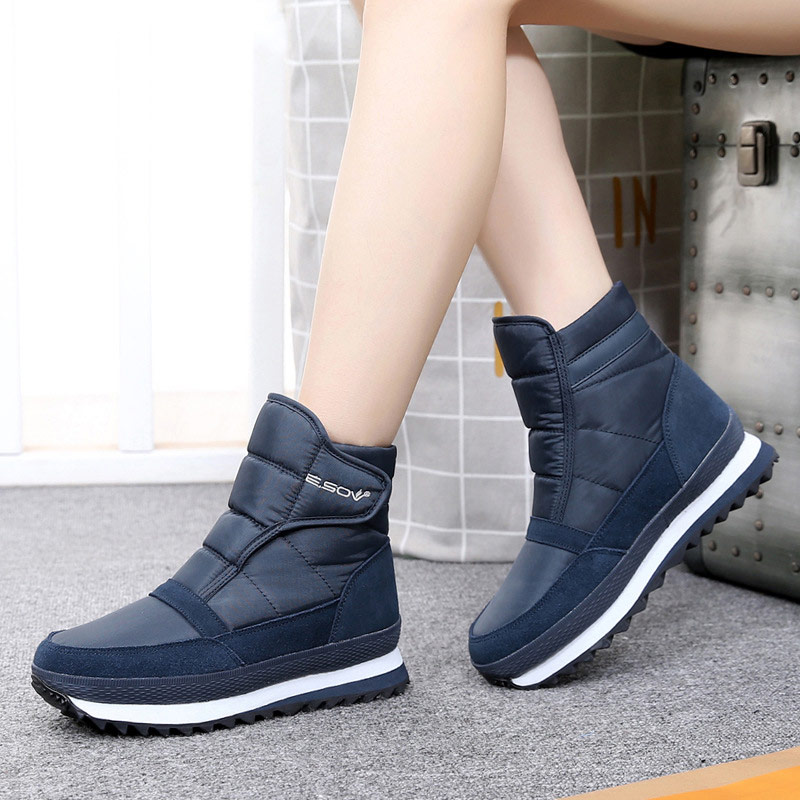 Women snow boots 2019 fashion solid non slip waterproof winter boots women boots plush warm women shoes hook&loop ankle boots-in Ankle Boots from Shoes