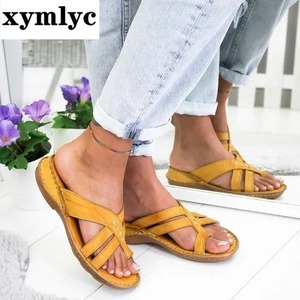 Women Slippers Gladiator Mixed Color Shoes Wedges Platform flip flops Beach Mules Ladies Slides Party Sandals Zapatos De Mujer(China)