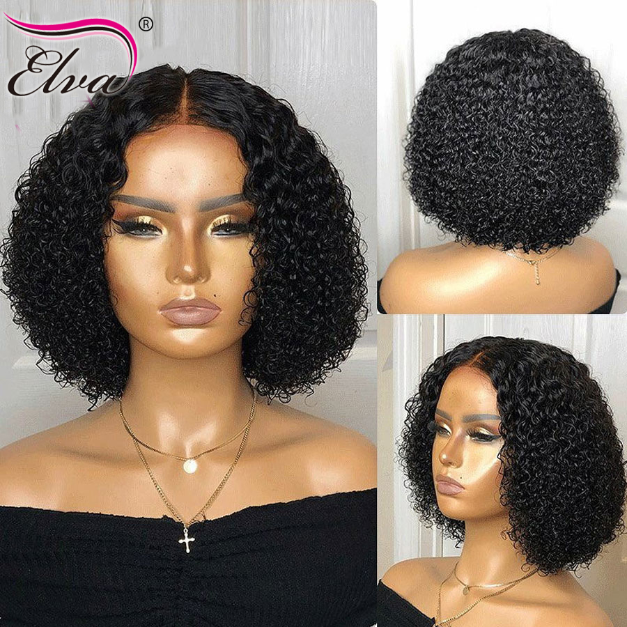 Image 3 - Elva 13x6 Lace Front Human Hair Bob Wigs For Black Women Pre Plucked With Baby Hair Curly Short Lace Front Wigs Remy Hair Wigs-in Human Hair Lace Wigs from Hair Extensions & Wigs