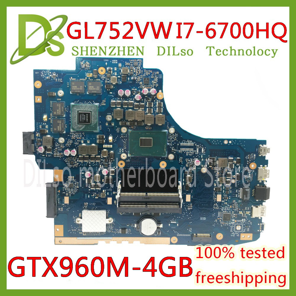 KEFU <font><b>GL752VW</b></font> motherboar For ASUS <font><b>GL752VW</b></font> GL752V G752V G752VW Laptop motherboard i7-6700HQ CPU with GTX960M 4G graphics card Test image