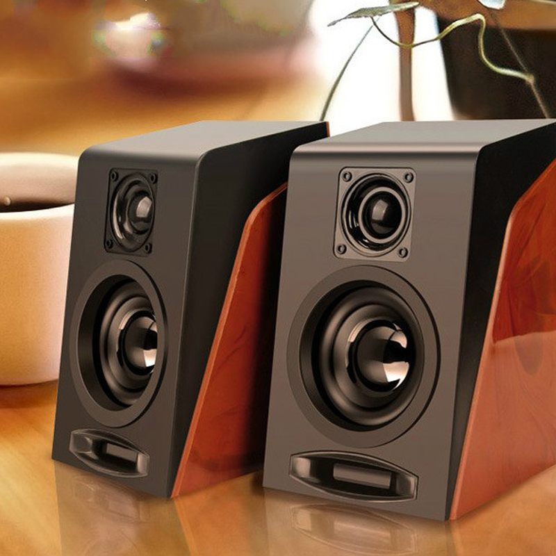 <font><b>USB</b></font> Wired Wooden Combination Speakers Computer Speakers Bass Stereo Music Player Subwoofer Sound Box For PC Phones image