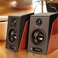 Altavoces de combinación de madera con cable USB, altavoces de ordenador con graves, reproductor de música estéreo, Subwoofer, caja de sonido para PC y teléfonos