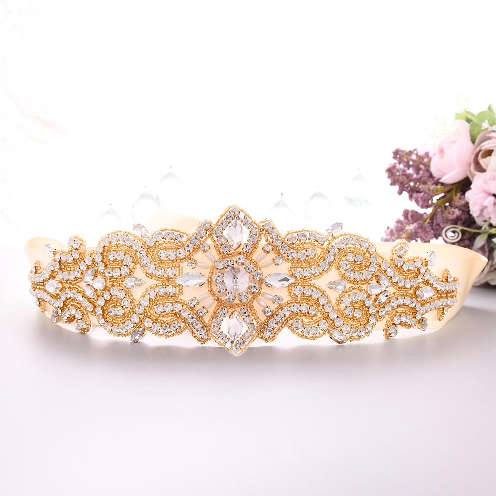 TRiXY S26-G Exquisite Golden Jeweled Belt Waist Belt Beaded Sash Belt Women's Rhinestone Belt Gold Belt Pearl Diamond Belt
