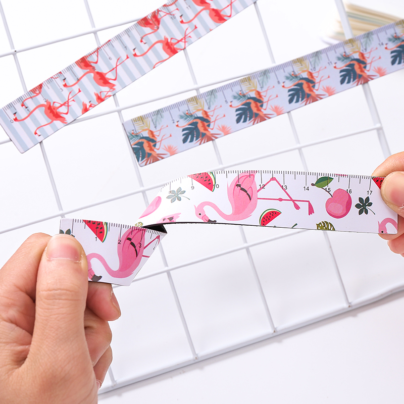 1pcs Flamingo Magnetic Soft Straight Rulers Pink Panther Bookmark Ruler 18CM Student Measuring Tool Office Drawing Stationery