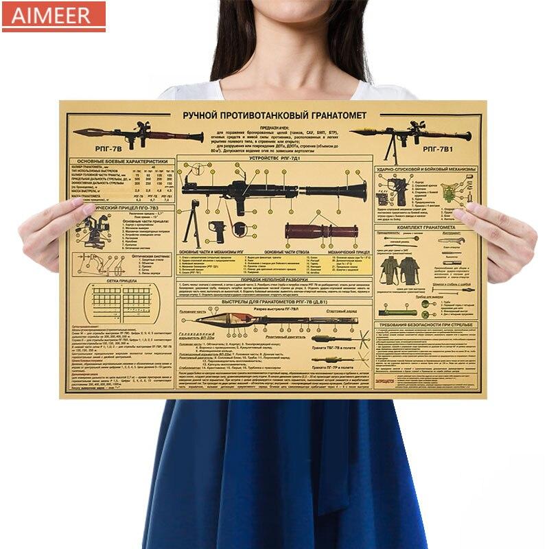 RPG-7D1 de lance-roquettes classique à l'épaule/rétro nostalgique affiche kraft peinture décorative taille 50.5*35cm