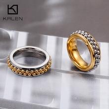 KALEN Dubai Stainless Steel Bague Femme Gold Silver Color Finger Rings For Women Two
