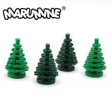 Marumine小さなトウヒ木互換2435都市茎草の花市部分クラシックレンガ建設知育玩具