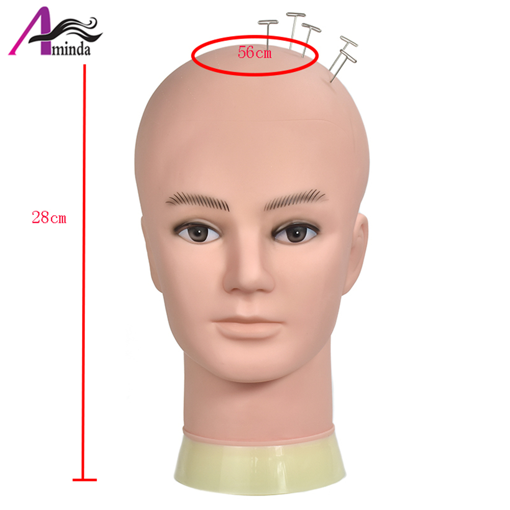 1pcs New Male Training Silicone Mannequin PVC Manikin Head Model Wig Hair Glasses Hat Display Make Up Face Closed Eye Practice