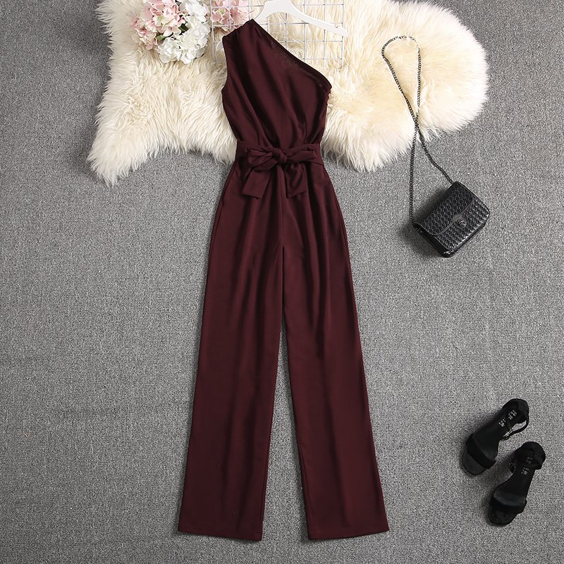 Discount│ALPHALMODA Party Jumpsuit Fashion Rompers Elegant Ladies Shoulder Summer Slim-Fit Outfit