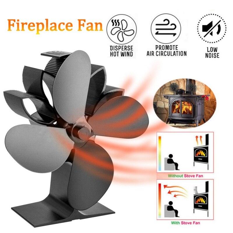 Black 4 Blades Heat Powered Stove Fan Log Wood Burner Ecofan Quiet Home Fireplace Fan Efficient Heat Distribution