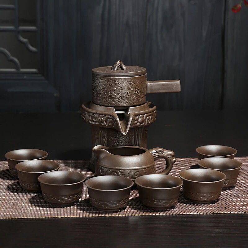 Purple Clay Stone Grinding Semi-automatic Tea Set Creative Kung Fu Tea Pot Tea Ceremony Supplies For Making Oolong Tea Pu'er Tea