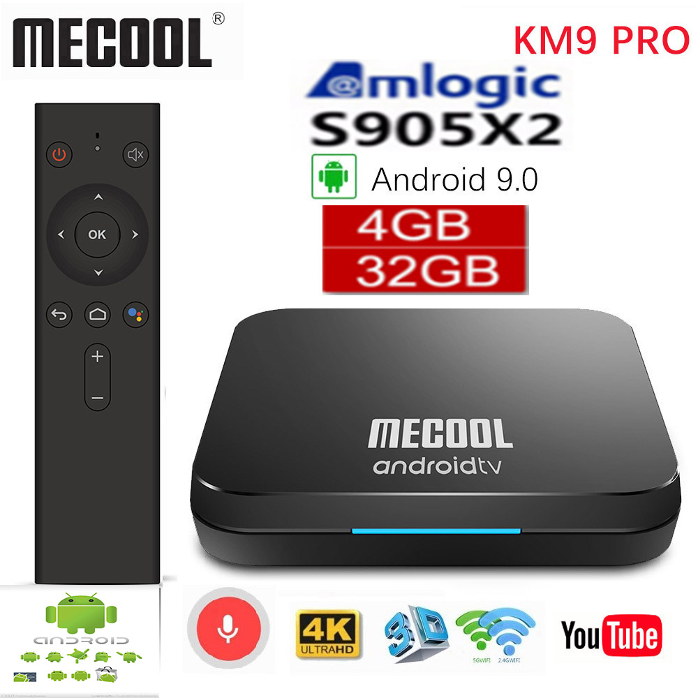 <font><b>MECOOL</b></font> <font><b>KM9</b></font> Pro Google Certified Androidtv <font><b>Android</b></font> 9.0 <font><b>TV</b></font> <font><b>Box</b></font> 4GB RAM 32GB Amlogic <font><b>S905X2</b></font> 4K ATV image