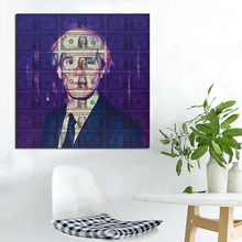 Decoraton Painting Andy Warhol Self Portrait With Dollars Background Modern Living Room Decorated Home Decor