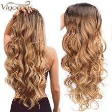 Энергичный длинный Омбре коричневый блондин волнистый парик натуральные волосы часть синтетические парики для женщин Glueless Косплей жаропрочные вечерние парики