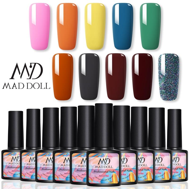 10 Bottles 1 Set 8ml MAD DOLL Solid Color And Scintillating UV Gel Bling Sequins Soak Off Nail UV Gel Polish Nail Gel Set