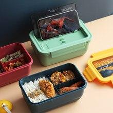 Grade microondas lancheira portátil japão compartimento bento caixa estilo simples salada de frutas recipiente armazenamento para crianças com utensílios de mesa