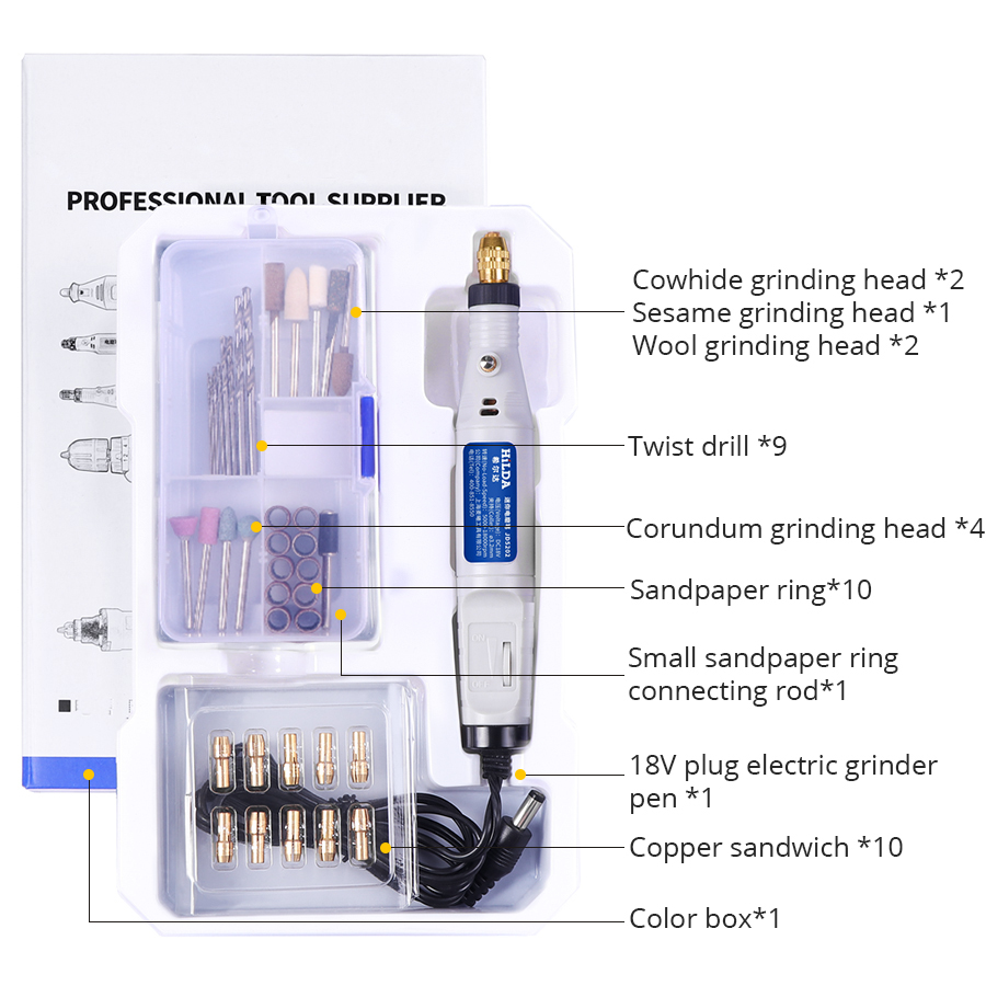 HILDA 18V Engraving Pen Mini Variable Speed Electric Drill with 40Pcs Accessories Electric Grinder Rotary Tool For Dremel tools