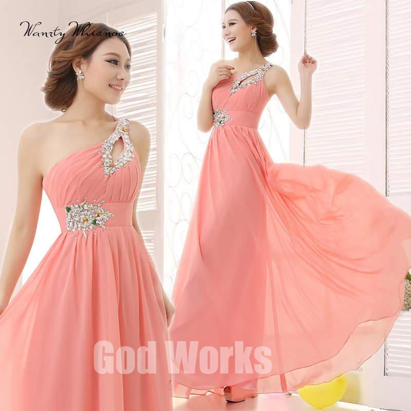 2020 Long Chiffon Evening Dress Special Occasion Dresses A-line One Shoulder Formal Dresses Wedding Party Dress With Beading