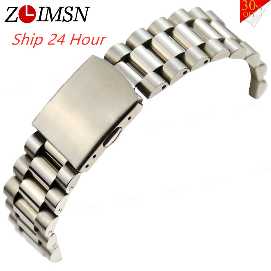 ZLIMSN High Quality Silvery Watch Bracelets Solid Stainless Steel Watchbands Adjustable Straps 16 18 20mm Mens Womens Promotion