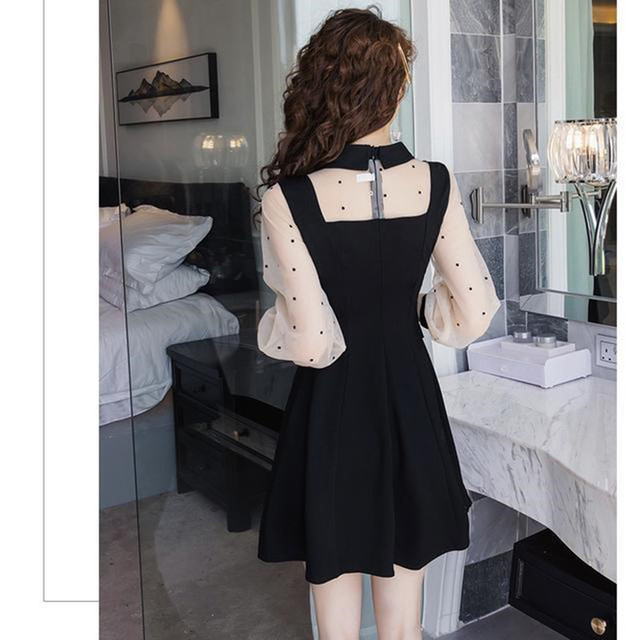 2021 spring and summer new dress Korean lapel French retro Hepburn little black dress mesh stitching slim slimming dress ins hot 4
