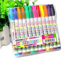 12Pcs New 12 Colors White Board Maker Pen Whiteboard Marker Liquid Chalk Erasable Glass Ceramics Maker Pen Office School Supply