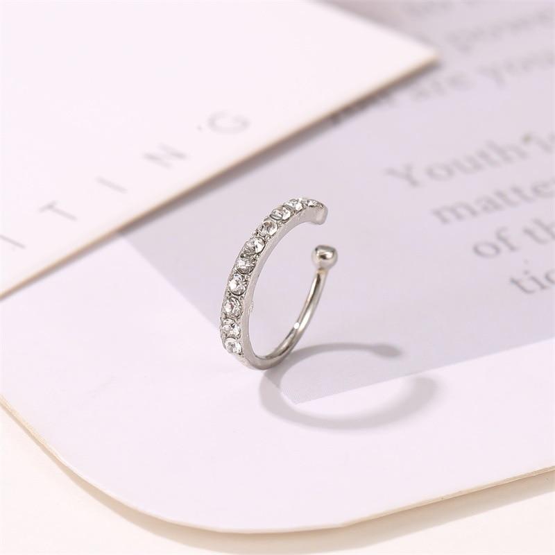Korean Crystal Clip Earrings For Women Zircon Earing Without Hole Jewelry Fake Earrings Single Ear Bone Clip Earings Kolczyki