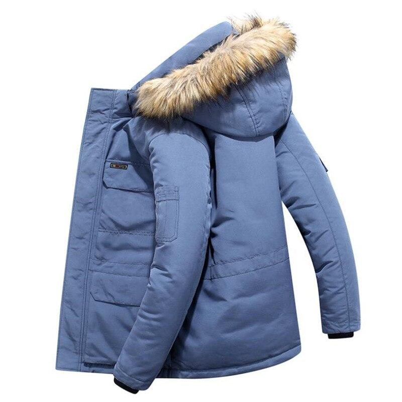Warm Hooded Jacket Men Winter Black Thick Korean Windproof Men Jacket Winter White Blue Hip Hop M-6XL Men Padded Coat AA50MF