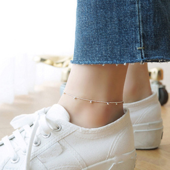 Trustdavis genuine 925 Sterling Silver Fashion Sweet Small Bell Anklets For Women Sivler 925 Jewelry Anklets Wholesale DS805 3