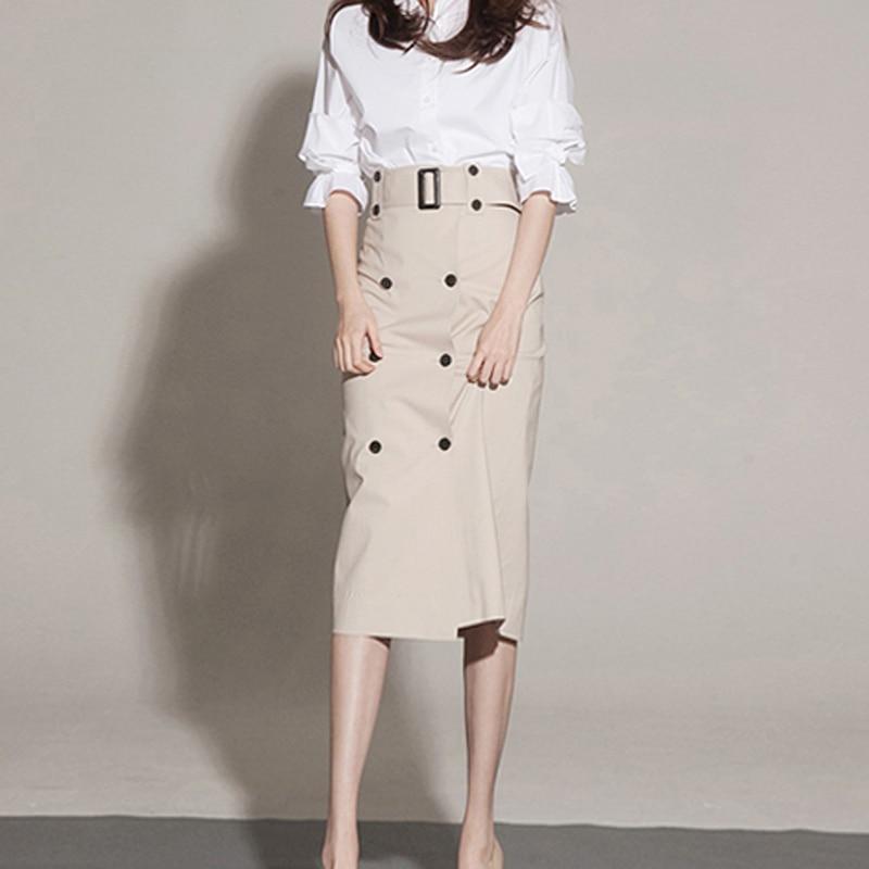 Professional Women's Skirt 2020 Autumn Women's Step Skirt New Tooling High Waist Long Skirt