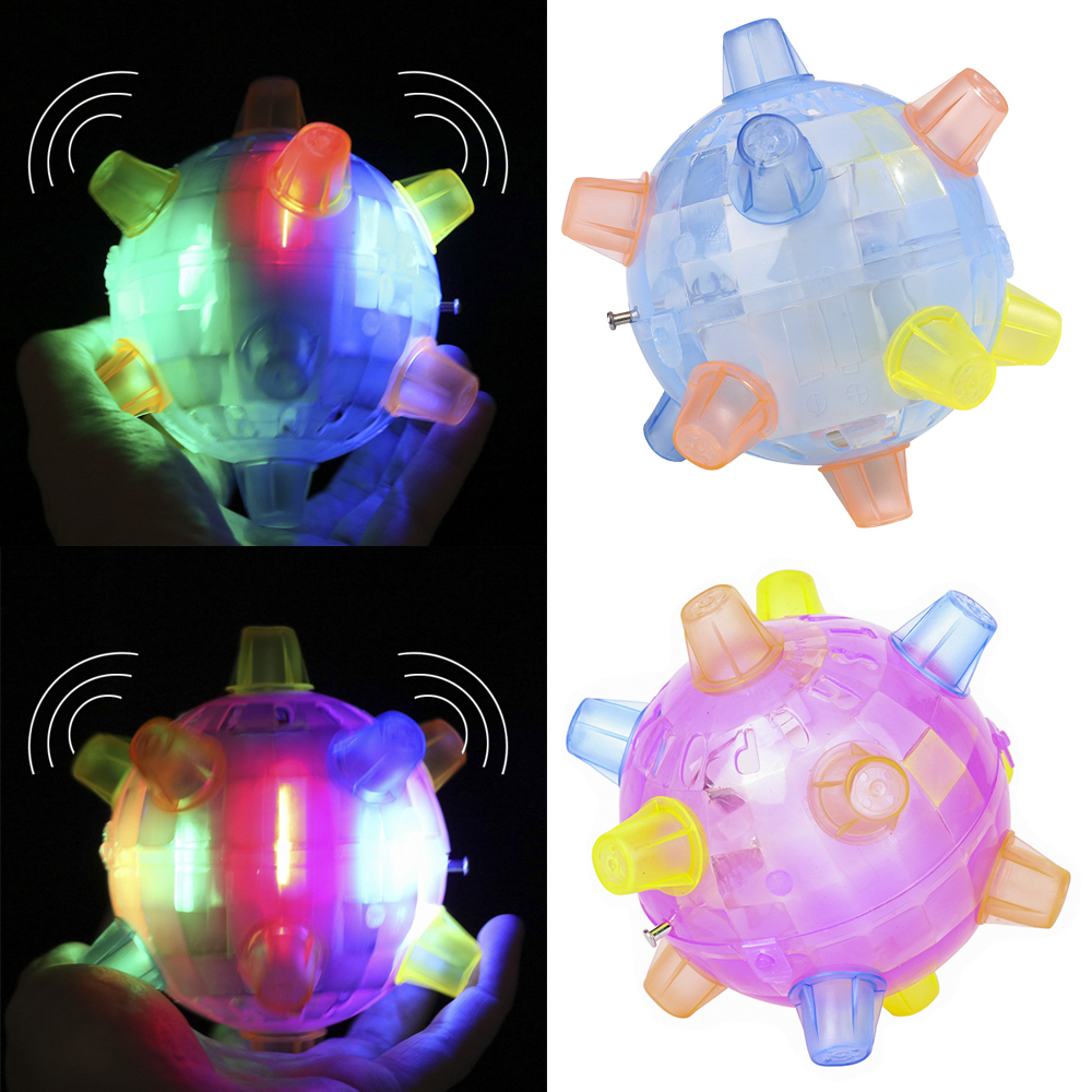 LED Jumping Joggle Ball Flashing Light Music Bopper Bouncing Vibrating Ball Toy Toys For Children Non-remote Control Vehicle Toy