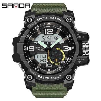 SANDA Top Brand Luxury Military Army Sports Watch Men'S Waterproof S Shock Quartz Analog LED Digital Watch Men Relogio Masculino цена 2017