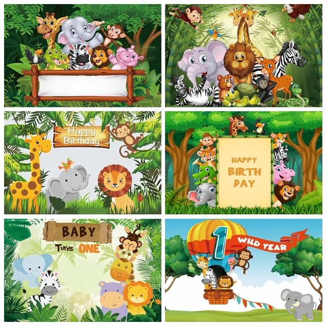 Tło do zdjęć dżungla Safari urodziny spersonalizowany plakat Baby Shower Cartoon zdjęcie dziecka tło Photocall Photo Studio