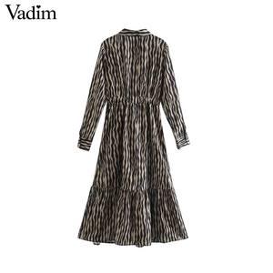 Image 2 - Vadim Nữ Vintage Họa Tiết Hình Thú Đầm Midi Tay Dài Thắt Nơ Buộc Tất Casual Nữ Kiểu Dáng Thời Trang Sang Trọng Áo Vestidos QD159