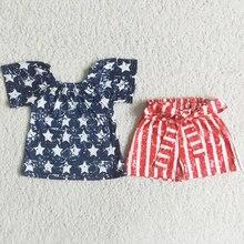 Venda quente do bebê meninas roupas verão 4th de julho estrela impressão listra shorts da criança menina conjuntos de roupas cinto design atacado