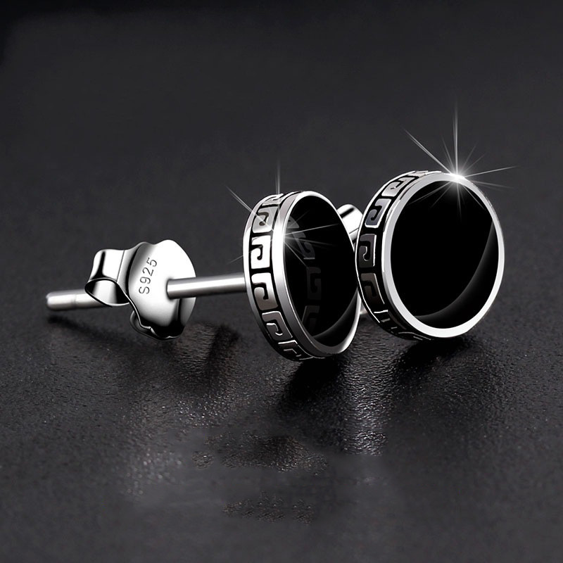 6/8MM Round Black Stone Stud Earrings For Men Vintage Fashion Punk Jewelry Male Simple Creative Silver Color Hip Hop Earrings