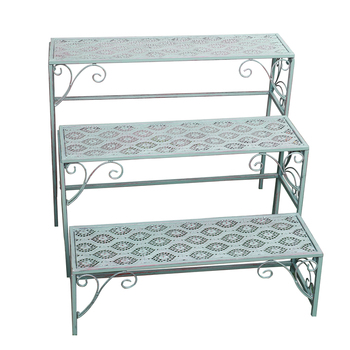 Wrought iron retro old ladder-style flower stand three-piece set, practical home shelf, rectangular flower stand table