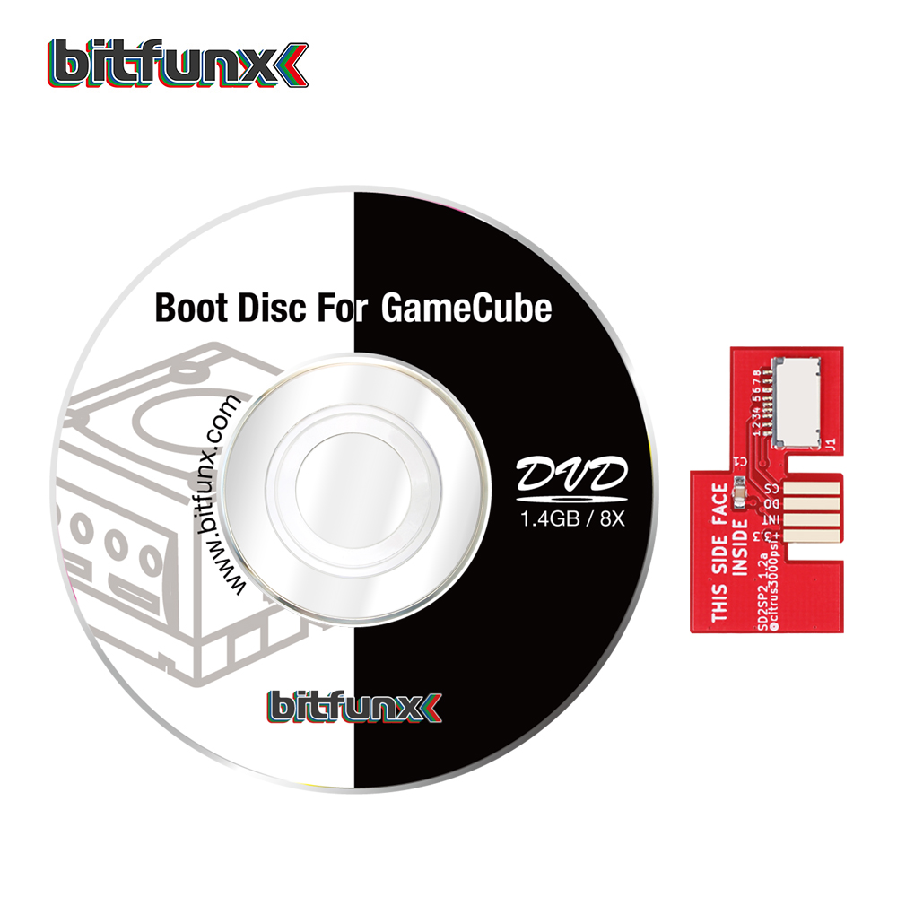 Bitfunx SD2SP2 Adapter Replacement Micro SD Card Reader + Swiss Boot Disc Mini DVD For Nintendo Gamecube NGC NTSC