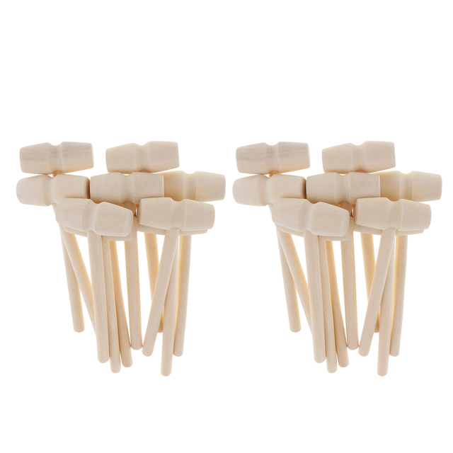 Small Wooden Mallets Wood Hammer Seafood Crackers Kid Dollhouse Supply Q