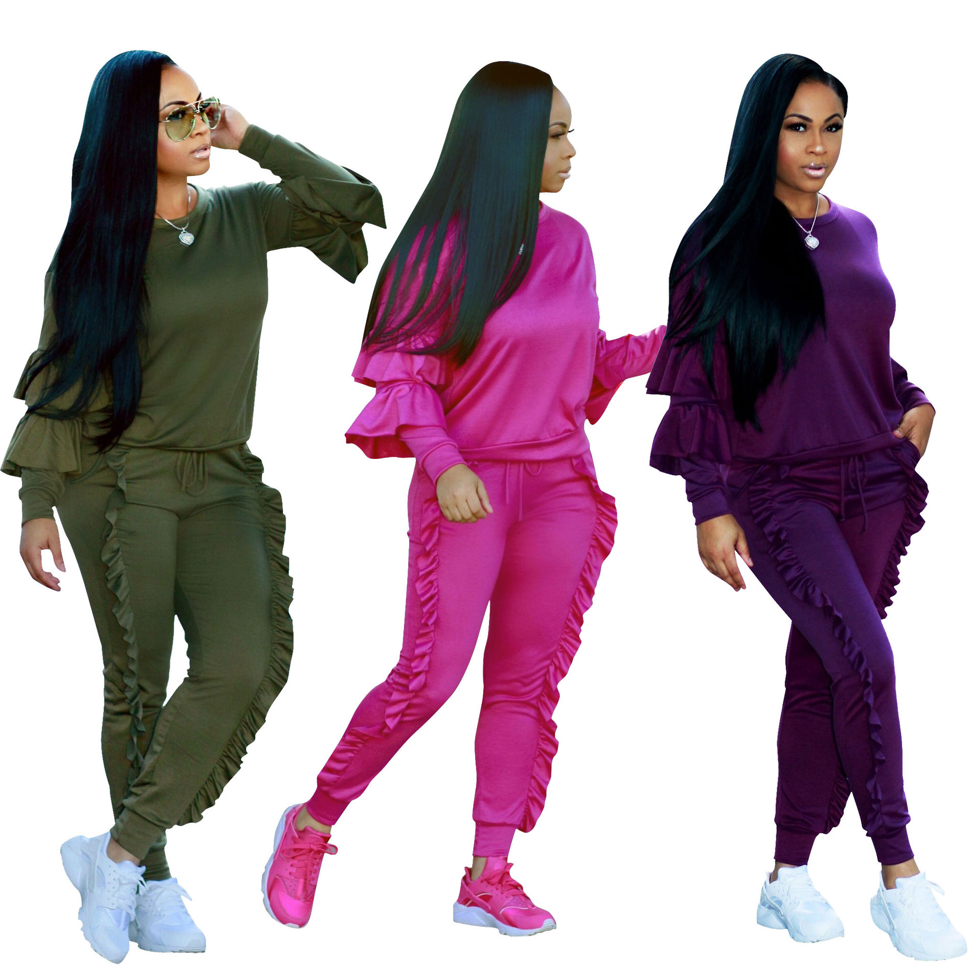 Plus Size 2 Piece Set Women Tracksuit Autumn Winter Festival Ruffle Top+Pant Sweat Suits Two Piece Outfits Matching Sets